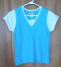 Girls GREAT AMERICAN SWEATER CO One Piece Sweater Vest Shirt M 8 - 10 Aqua Blue