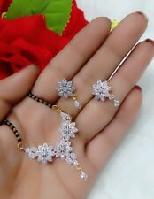 American Diamond Flower Pendant Earrings Mangalsutra Set For Women's Ethnic