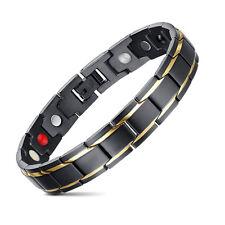 Para hombre pulseras Chapado en oro Negro acero inoxidable con magnéticas 21cm
