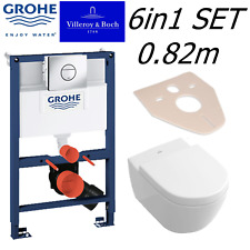 GROHE RAPID 0.82m WC FRAME + VILLEROY BOCH SUBWAY 2.0 56cm PAN & SOFT CLOSE SEAT