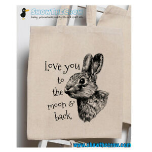 """""""Rabbit Love You To The Moon"""" 100% Premium Cotton Tote Gift Shoppers Bag"""