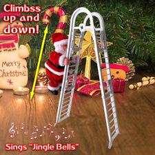 Electric Santa Claus Climbing Ladder Doll Music Creative Xmas Decor Kid Toy Gift