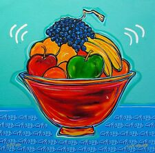 """LISA GRUBB """"FRUIT BOWL"""" Hand Signed Limited Edition Art Giclee on Canvas"""
