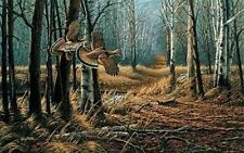Terry Redlin Old Loggers Trail Grouse Print  14 x 8.75 Plus Border