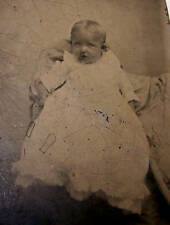 ANTIQUE TINTYPE-BLONDE INFANT-CHRISTENING GOWN-BABY