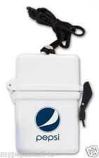 PEPSI Waterproof Box White Neck Strap Waterparks Boating Wallet Hideaway NEW