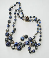 1950' Vintage Blue Marbled Wired Choker Plastic 2T Gold tone Necklace Hong Kong
