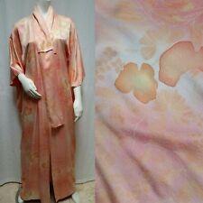 Gorgeous Peach Pink Textured Silk JAPANESE KIMONO - One Size