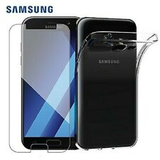 CLEAR Tempered Glass Screen Protector Cover / Back Gel Case for Samsung Galaxy