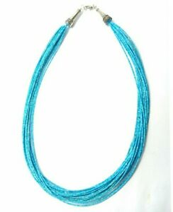 """Top Quality Genuine Natural Turquoise Tiny Multi Strands Necklace 20"""" 20 Strands"""