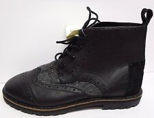 Toms Size 12 Black Leather  Brogue  Boots New Mens
