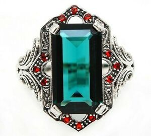 10CT Apatite & Ruby 925 Sterling Silver Edwardian Look Ring Jewelry Sz 8, UF6
