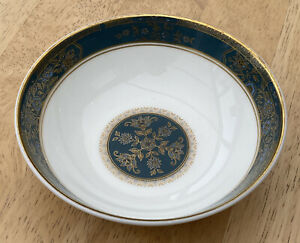 """Royal Doulton CARLYLE, Blue Flowers Gold Leaves, Teal Band, Desert Bowl, 5 1/4"""""""