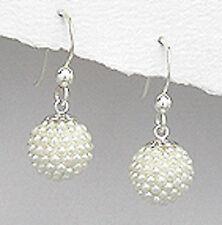 Solid Sterling Silver Seed Pearl Hook Dangle Earrings 1.5g VICTORIAN INSPIRED