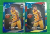 (2) 2017-18 OPTIC Kyle Kuzma Rated Rookie RC LOT! SILVER HOLO Prizm & Red/Yellow