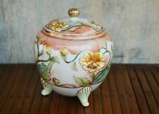 Vintage Japanese Hand Painted Peach Jardiniere With Gold Trim & Lid