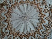 ANTIQUE Vintage Art Deco Handmade Round Crochet Lace White Tablecloth Runner 39""