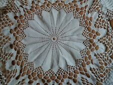 """ANTIQUE Vintage Art Deco Handmade Round Crochet Lace White Tablecloth Runner 39"""""""
