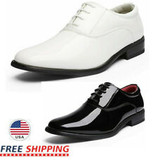 Men's Faux Patent Leather Tuxedo Dress Shoes Classic Lace-up Formal Oxford