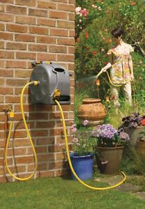 Garden Wall Mounted 25m Water Hose Reel Patio Outdoor Hozelock Watering Pipe NEW