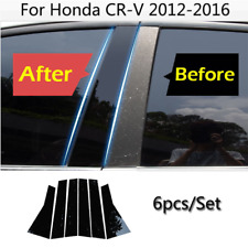 Glossy Black B C Pillar Post  PC Plastic Cover Trim 6P For Honda CRV 2012-2016