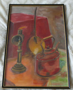 MARY E. JESPER - STILL LIFE AN OIL LAMP AND TEAPOT. OIL PAINTING ON CARDBOARD.