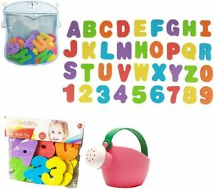 Letters & Numbers Foam Bath Toy Set for Kids w/ Storage Mesh Bag Watering Pot