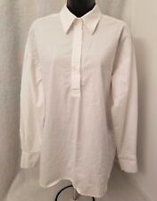 Comfy USA Womens White Quarter Button Down Shirt Top Blouse Size S