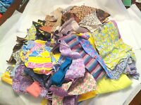 VINTAGE QUILT SCRAP FABRIC & FEEDSACK MIX PCS LOT 4+ LBS OLD NOVELTY + CHILDRENS