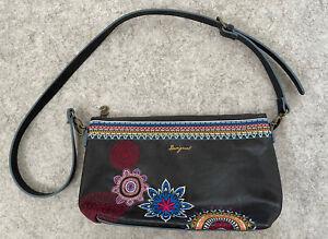 Desigual Black Faux Leather Embroidered Handbag Shoulder Cross Body VGC