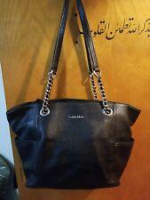 Calvin Klein Black pebbled Leather Tote Satchel  Handbag Chain Strap