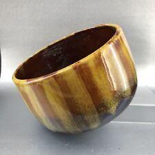 "Vintage 8.5"" Harvest Gold Blue Mountain Pottery Bowl Mid Century Fat Lava German"