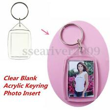 10pcs Clear Acrylic Blank Keyring Insert Photo Picture Holder Key Ring Keychain