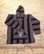 Baja Hoodie Mexican Poncho Hoodie Pullover with Embroidered Raider's Patch NEW