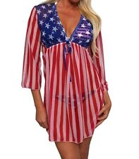 MADE IN USA Flag Red Blue White women Long Sleeves Swimwear Cover-up Free SIZE