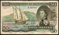 1970 Seychelles 50 Rupees Banknote * A/1 107869 * F+ * P-17c *