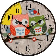 Bird Style Kids Owl Wall Clock Vintage Antique Wooden Wall Clock Modern Design L