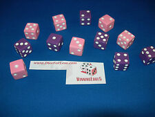 NEW 12 ASSORTED OPAQUE DICE 16mm PINK AND PURPLE 6 OF EACH  COLOR FREE SHIPPING