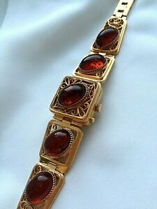 Vintage CHAIKA Mechanical Women Watch  Filigree Natural Kaliningrad Amber rare