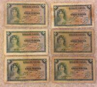 Lot Of 6 X Spanish Banknotes. 5 Pesetas. Emision 1935. Spain.