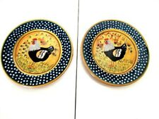 """New listing Rooster by Giani for Ambiance 8.5"""" Plate Rooster Dot Rim - Pair"""