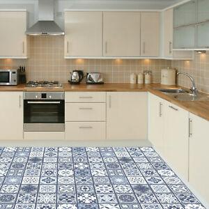 Lisbon Blue Tiles Self-adhesive kitchen bathroom home floor sticker 120cm x 60cm