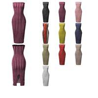 FashionOutfit Women Sexy Party Pinstripe Pattern Print Body-Con Tube Midi Dress
