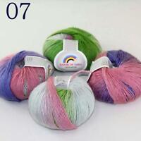 Sale Colorful Rainbow Scarf Shawl Cashmere Wool Hand Knit Yarn 6 Skeins x50g 07