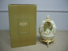Dillard's 8� Hand Painted Porcelain Egg on Gold Stand Angel Playing Flute Nib