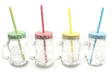 SET OF 4 MULTI-COLOURED MASON STYLE JARS WITH HANDLE AND STRAWS - VINTAGE STYLE