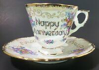 Vintage Japanese Happy Anniversary Teacup Saucer Gold Rose Purple Blue Flowers
