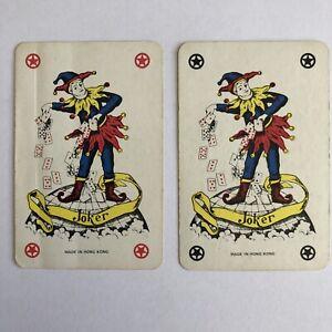 Pair Of Joker Cards, Plastic Coated, Vintage