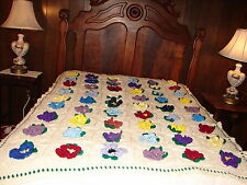 NEW Handmade Handcrafted Crochet Afghan Throw Blanket ~ Granny Square 54 Flowers