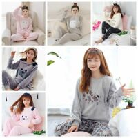 Cute Women Winter Coral Fleece Pajama Sets Comfortable Flannel Animal Sleepwear